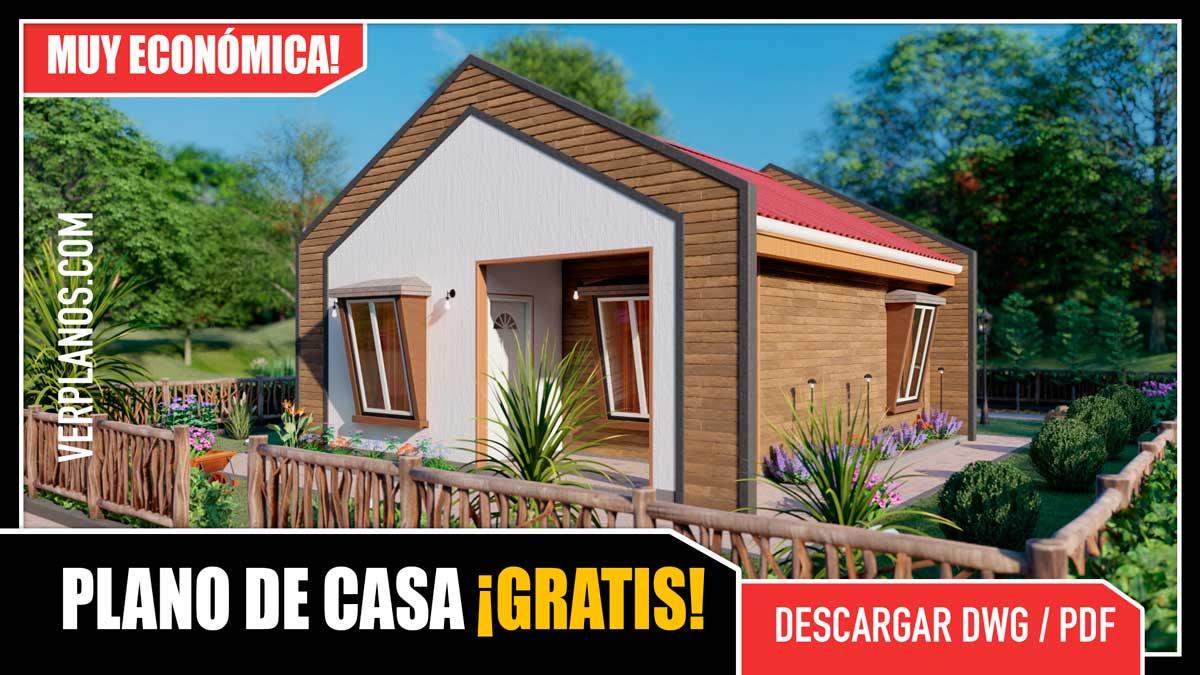 Modelo o idea de plano de casa pequeña y económica para el campo o la ciudad gratis para descargar en dwg y pdf autocad