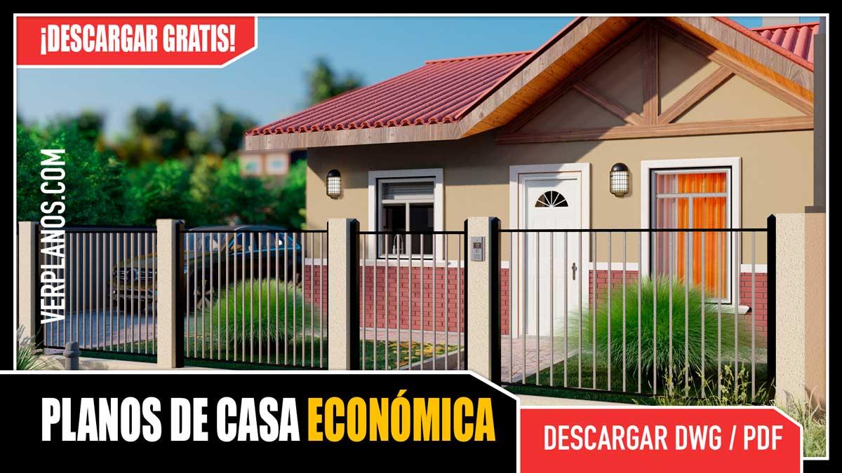 Planos de Casa Pequeña y Económica de 1 piso con 3 dormitorios y 2 baños en Autocad y PDF