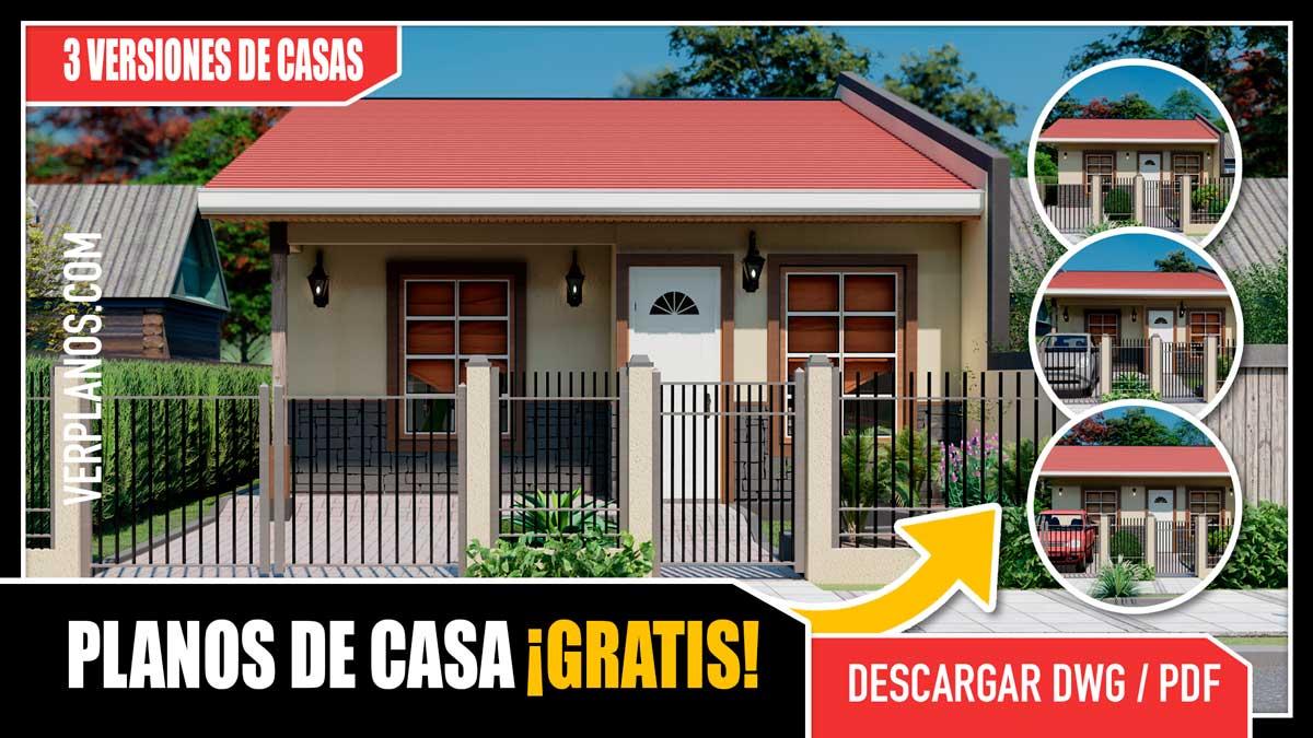 Planos de casa pequeña y económica de 1 piso con 2 y 3 dormitorios de 1 y 2 baños gratis en autocad y pdf