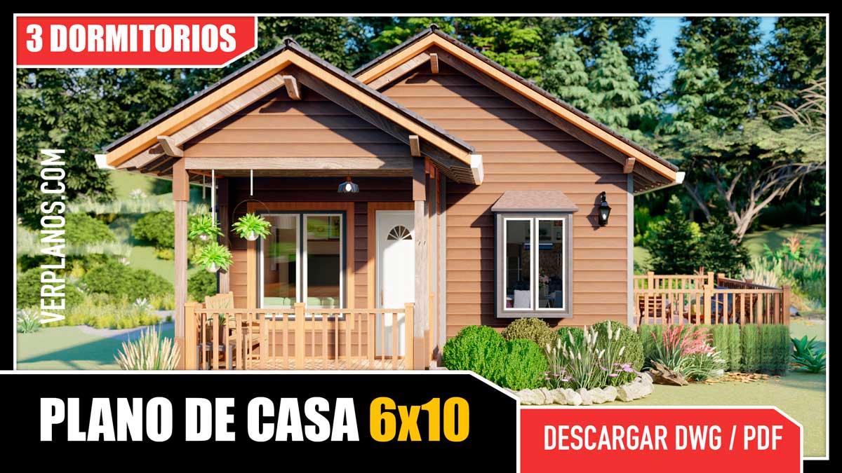 Planos de casa prefabricada de 1 piso con 3 dormitorios y 1 baño en formato DWG para Autocad y PDF ¡GRATIS!