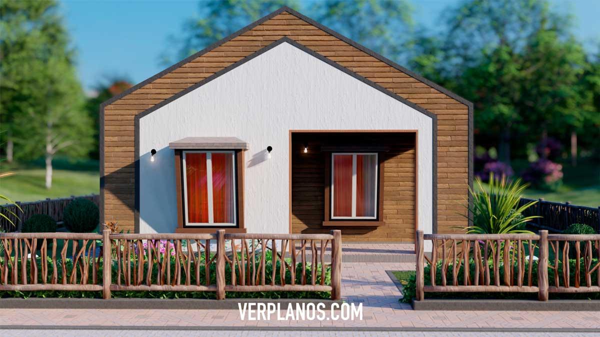 Vista previa de fachada de plano de casa pequeña y económica