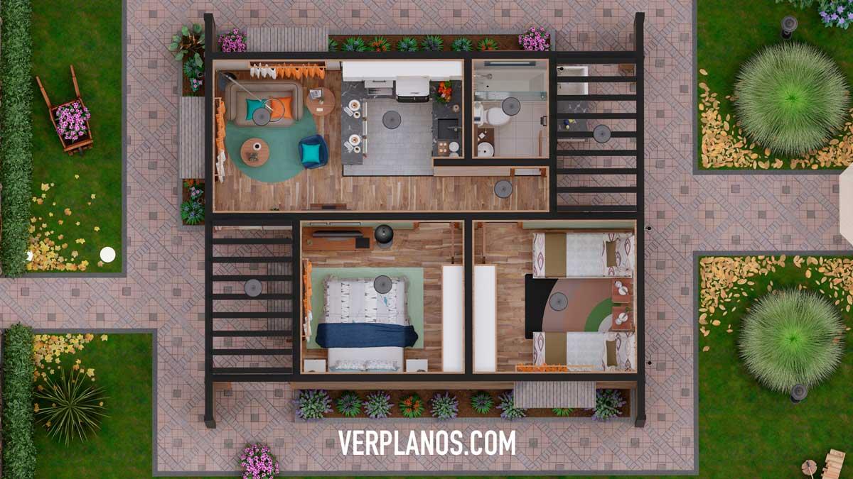 Vista previa de planta plano de casa económica y pequeña gratis