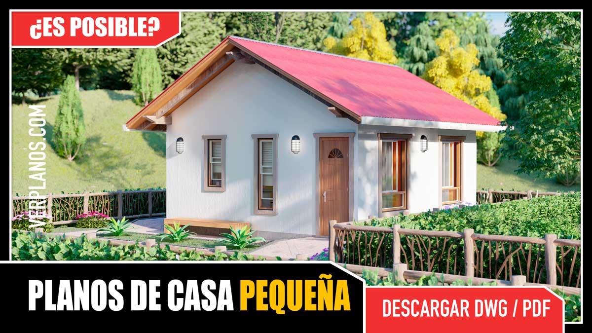 Planos de casa pequeña y económica de 1 piso con 2 dormitorios y 1 baño