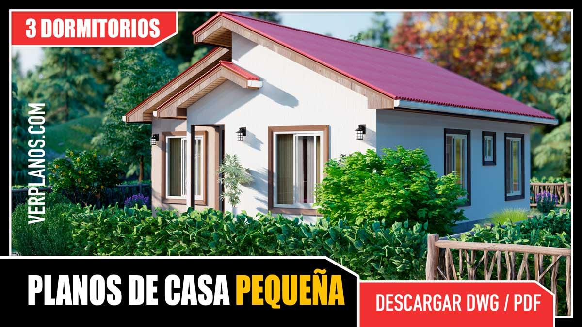 Planos de casa económica de 1 piso con 3 dormitorios y 1 baño gratis para descargar en dwg y pdf