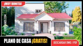 Planos de Casa con 3 dormitorios y 2 baños en formato DWG para Autocad y PDF ¡GRATIS! Descargar
