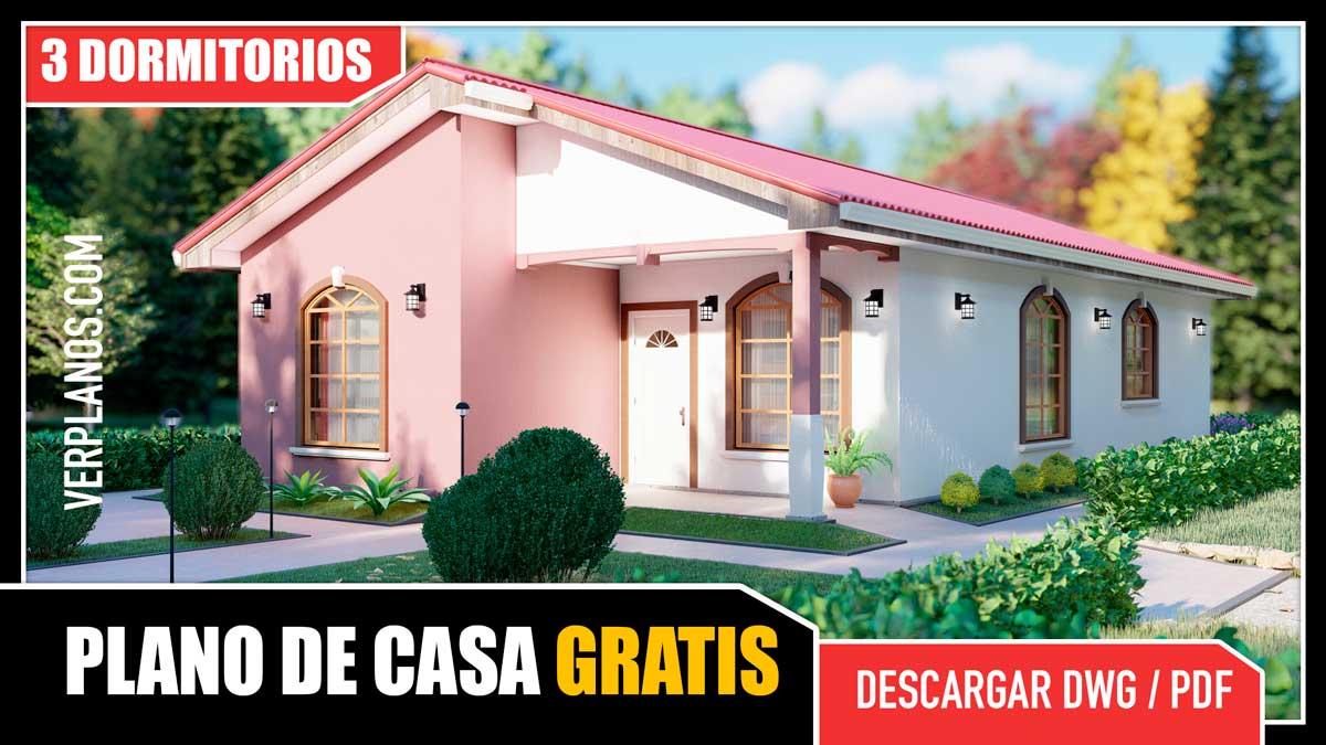 Planos de Casa de Campo con 3 Dormitorios y 2 Baños gratis para descargar en pdf o dwg