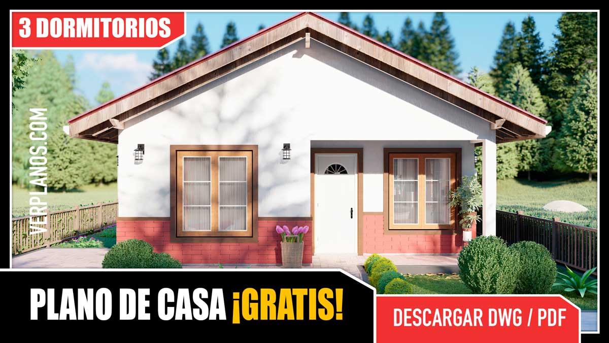 Planos de Casa de campo de 1 piso con 3 dormitorios y 2 baños gratis en autocad y pdf