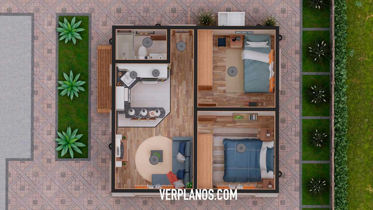 Vista previa plano de casa planta 1 piso económica y pequeña