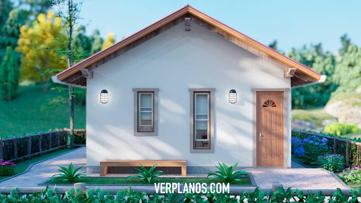 Vista previa fachada plano de casa pequeña y económica
