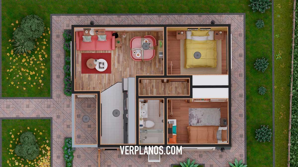 Vista previa planta de plano de casa pequeña y económica principal