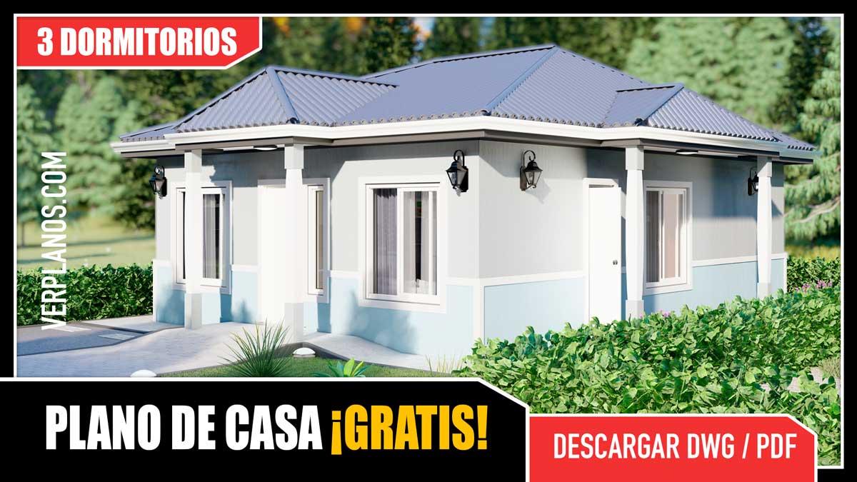 Planos de Casa económica y pequeña de 1 piso con 3 dormitorios en formato DWG y PDF para descargar
